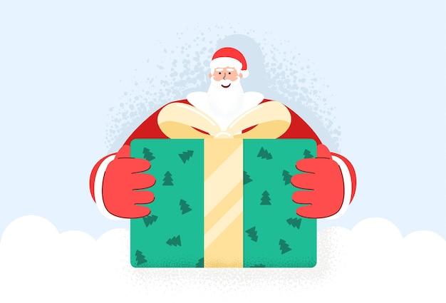 Heureux vieux drôle de père noël barbu donnant une grande boîte-cadeau. vacances de noël de noël.