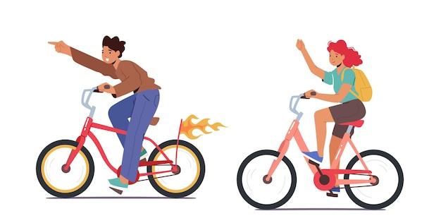 Heureux voyage à vélo avec personnages garçon et fille