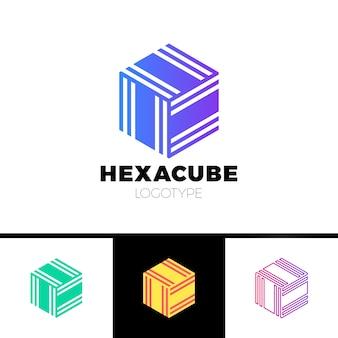 Hexagon cube 3d secteur groupe logo