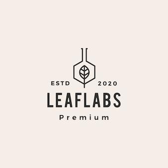 Hexagon leaf lab labs hipster logo vintage icône illustration