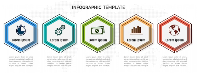 Hexagon timeline infographic 5 options.