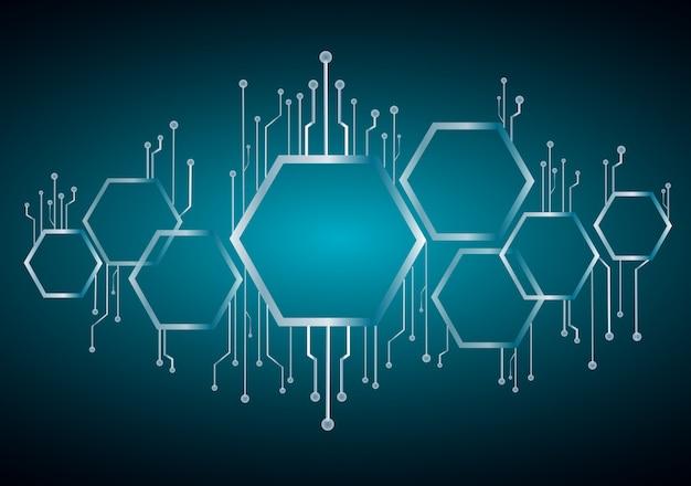Hexagone abstrait et fond de ligne de technologie