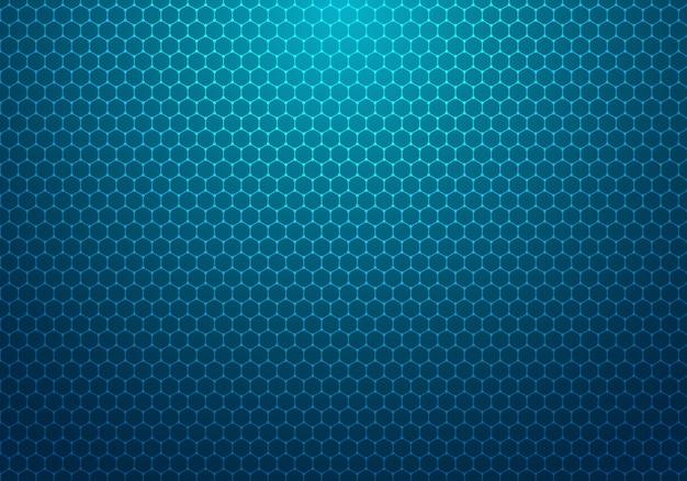 Hexagone bleu abstrait avec fond de technologie de motif de point