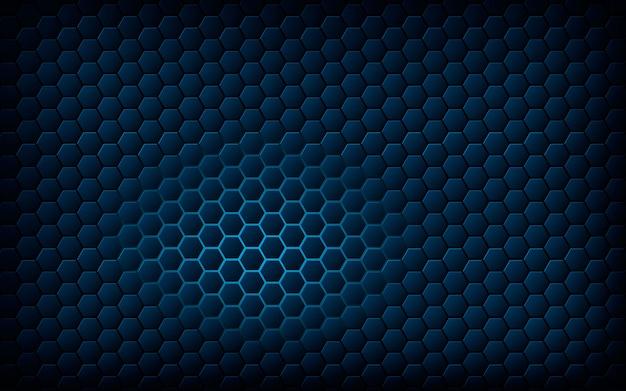 Hexagone bleu avec un fond bleu clair