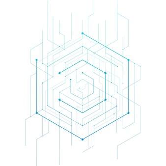 Hexagone géométrique abstrait. design minimaliste de lignes et de points.