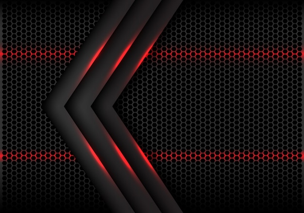 Hexagone de lumière rouge flèche grise maille fond futuriste.