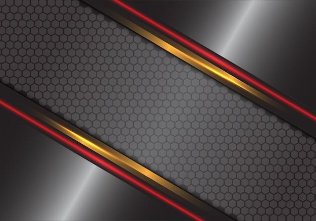 Hexagone métallique gris or rouge maille modèle fond futuriste de luxe.