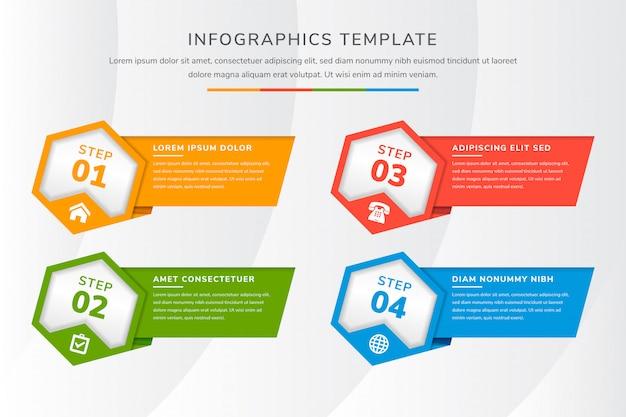 Hexagone modèle infographique quatre processus ou étape pour la présentation de l'entreprise. couleurs plates de vert, bleu, rouge, orange. style de coupe de papier diagonal.