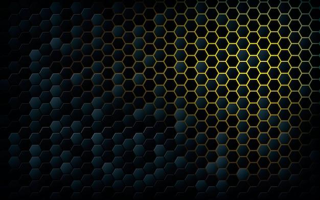 Hexagone noir avec fond jaune clair