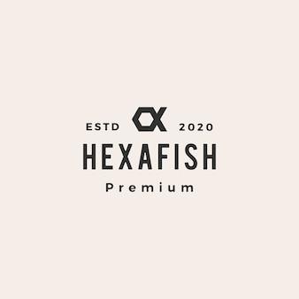 Hexagone poisson hipster logo vintage icône illustration
