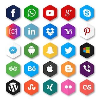 Hexagone réseau social icône bouton