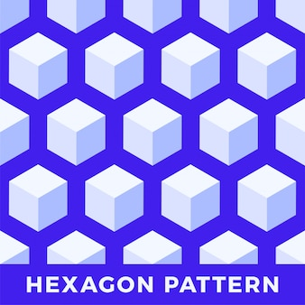 Hexagone transparente, motif cube abstrait.