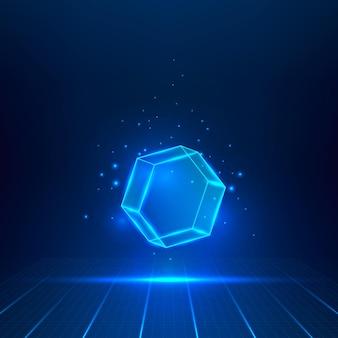 Hexagone en verre bleu. objet géométrique flottant dans l'air. illustration vectorielle