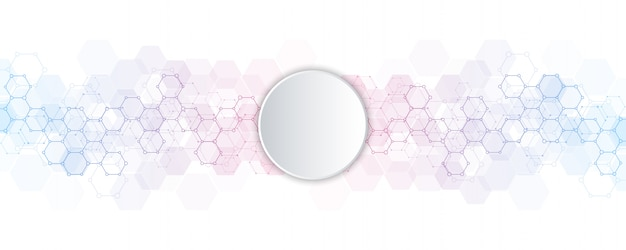 Hexagones abstraits avec fond de cercle vide