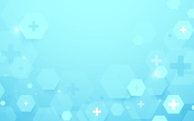 Les hexagones géométriques abstraites forment le fond de concept médecine et science. icônes médicales