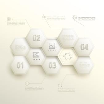 Hexagones d'infographie avec options numériques