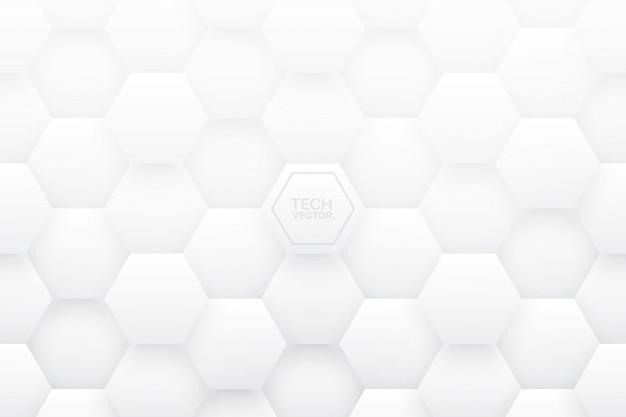 Hexagones tech 3d fond abstrait blanc