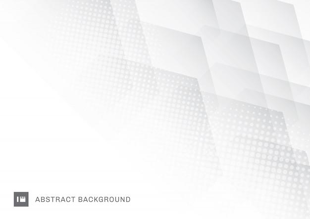 Hexagones de technologie abstraite blanche avec fond de demi-teintes