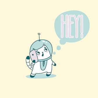Hey lettrage avec chat astronaute drôle