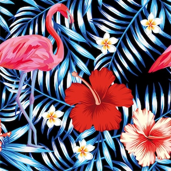 Hibiscus flamingo plumeria palm leaves motif bleu