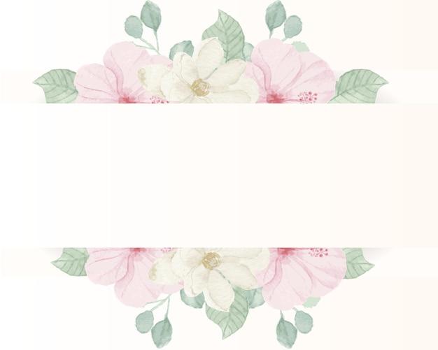 Hibiscus rose et bordure de fleurs aquarelle magnolia blanc