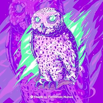 Hibou abstrait coloré illustré