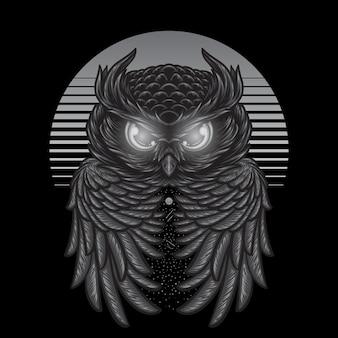 Hibou abstrait nuit avec lune illustration monochrome dessin noir blanc à la main