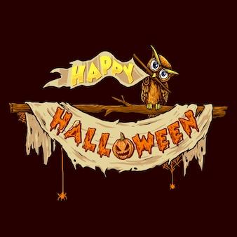Hibou avec ancien drapeau et bannière de ruban pour célébrer halloween adapté à la fête d'halloween