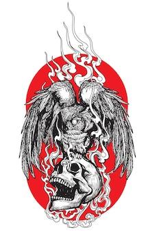 Hibou d'art de tatouage sur un dessin et un croquis de main de crâne