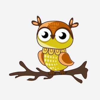 Hibou brun mignon avec des yeux ronds pour les enfants illustration vectorielle