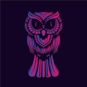 Hibou décoratif visage lueur oeuvre de couleur