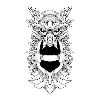 Hibou dessiné à la main et ornement