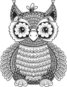 Hibou doodle illustration pour cahier de coloriage