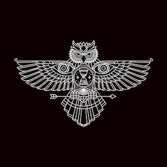 Hibou avec emblème ailes ouvertes