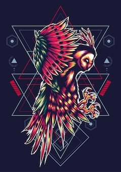 Hibou géométrie sacrée