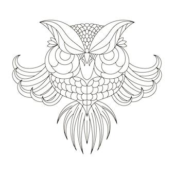Hibou grand-duc. des oiseaux. doodle dessiné main blanc noir. illustration vectorielle à motifs ethniques. africain, indien, totem, tribal, design. croquis pour la page de coloriage anti-stress pour adultes, tatouage, t-shirt imprimé d'affiches