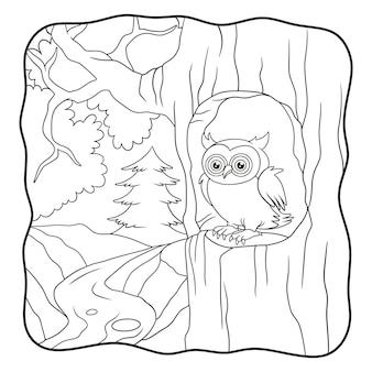 Le hibou d'illustration de dessin animé est devant son livre de maison ou sa page pour les enfants en noir et blanc