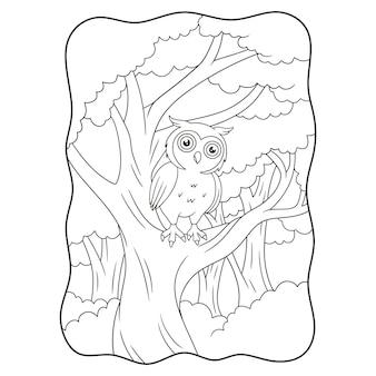 Hibou d'illustration de dessin animé perché sur un tronc d'arbre dans un livre de nuit ou une page pour les enfants en noir et blanc