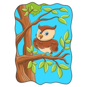 Hibou d'illustration de dessin animé avec une pose cool perché sur un tronc d'arbre