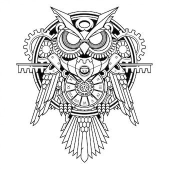 Hibou illustration steampunk