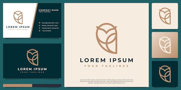 Hibou de luxe minimaliste de dessin au trait vecteur logo
