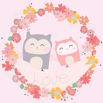 Hibou mignon couple dans un cadre floral