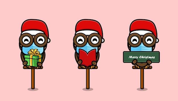 Hibou mignon portant un chapeau de noël dessin animé