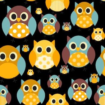 Hibou motif sans soudure fond illustration vectorielle
