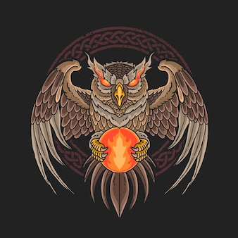 Hibou noir apporte une illustration de boule de feu