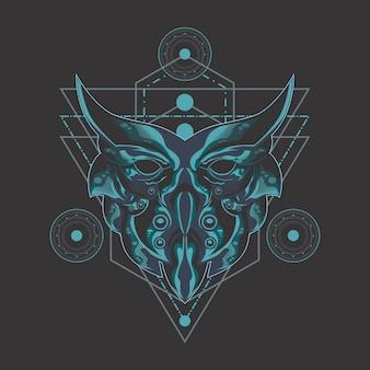 Hibou noir géométrie sacrée