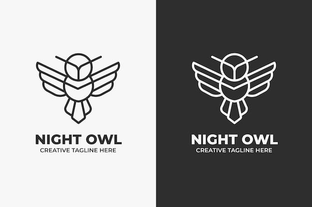 Hibou oiseau géométrique monoline logo