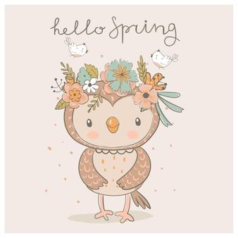 Hibou de printemps mignon avec une couronne et de petits oiseaux illustration vectorielle dessinés à la main