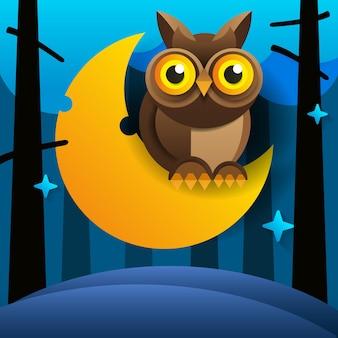 Hibou rose de dessin animé mignon est assis sur le croissant de lune endormi dans le ciel nocturne avec des étoiles