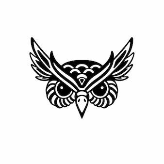 Hibou tête logo symbole conception pochoir tatouage illustration vectorielle